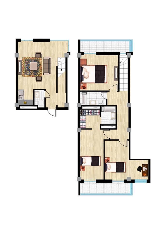 4 өрөө A penthouse хувилбар